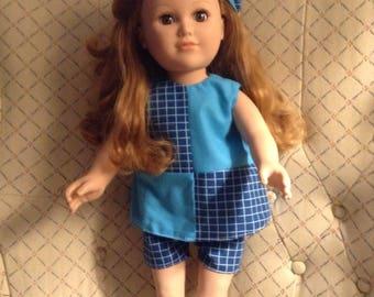 "18"" Doll 2-pc Top/Shorts set,  Turquoise/Blue Cotton blend,Matching hat,sleeveless,geometric design,smoke-free,USA,"