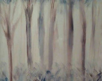 Original Oil painting on Canvas Impressionism Abstract landscape. The quaiet forest