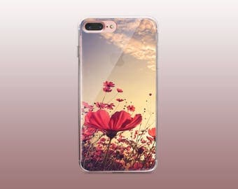 Floral Clear TPU Phone Case for iPhone 8- iPhone 8 Plus - iPhone X - iPhone 7 Plus-iPhone 7- iPhone 6 - iPhone 6S - iPhone SE - Samsung S8
