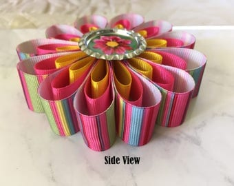 Custom Hair Bow, Personalized Sculpture Ribbon Photo Barrette, Personalized Hair Bow Accessory, Custom Photo Barrette, Flower Hair Bow