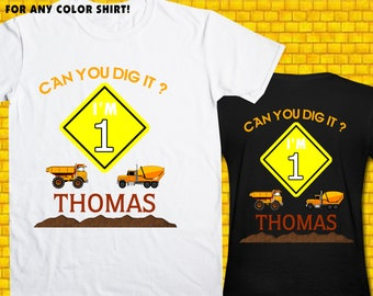 Construction / Iron On Transfer / Boy Birthday Shirt Design / DIY Shirt / High Resolution / For Any Color T Shirt / 12 Hours Turnaround Time