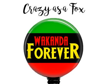 "Black Panther ""Wakanda Forever"" Retractable Badge Holder, Badge Reel, Lanyard, Stethoscope ID Tag, Nurse, RN, MD, Student  Gift"