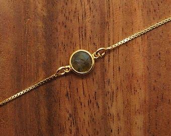Silver bracelet, labradorite bracelet, stone bracelet, gold bath, fine bracelet
