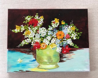 Van Gogh inspired vase with Zinnias and flowers