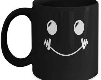 Barbell Smiley Face - Cute High Quality Ceramic 11 oz or 15 oz Mug - Fitness Workout Weight Lifting Lift Cross Training WOD Partner Gift