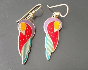 Vintage Laurel Burch Kuchulu Bird Dangle Earrings in Red, Orange, Purple and Teal