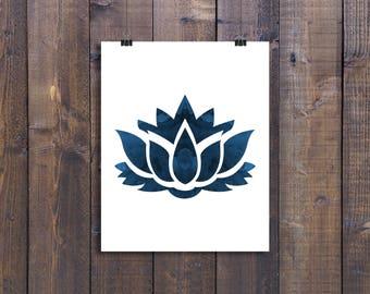 Lotus flower, Lotus art, Watercolor Print, Water color Prints, Yoga art, Minimalist, Wall art, Lotus flower print, Lotus flower, Decor, Blue