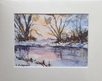Original watercolour STILL WATERS water, lakes, winter, snow, trees.