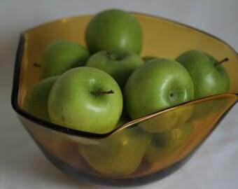 1960s retro amber waved glass bowl