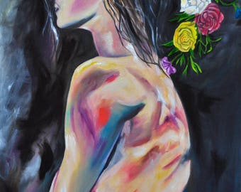 Woman in colors. Oil painting
