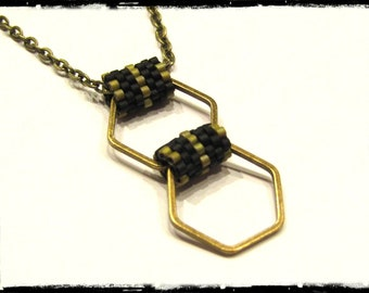 Weaving beads Miyuki pendant necklace