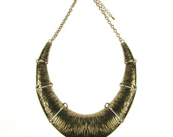 Stunning Chunky Gold Torque Collar Statement Necklace