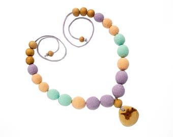 Nursing necklace wood Juniper pendant Juniper wood beads Natural necklace Nursing necklace crochet Teething necklace for mom Zero waste