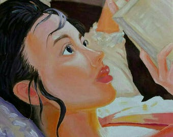 "Original Art Oil painting  on canvas ""The Reading Girl""   Size:40*40.5"