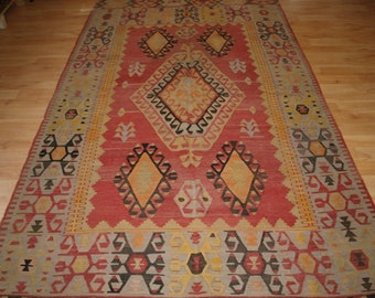 Old Turkish Konya Region Kilim of Large Size, Soft Colours, Superb Condition, Circa 1920.