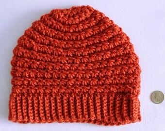 Soft, Burnt Orange, Star Stitch Beanie hat