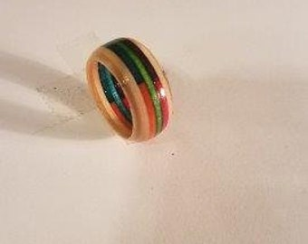 Rainbow Candy Stripe Wood Ring Or Toe Ring #3.  Any Size 3 - 17   / Handmade Jewelry