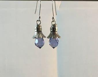 Violet crystal earrings