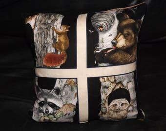 wildlife cushion squirrel,bear,owl and racoon