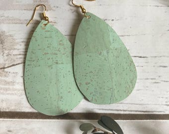 Mint Aqua Turquoise Blue Cork Leather Teardrop Leather Earrings