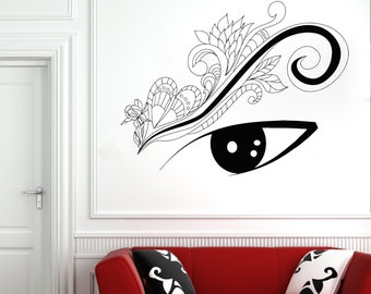 Wall Decal Window Sticker Beauty Salon Woman Face Eyelashes Lashes Eyebrows Brows t25