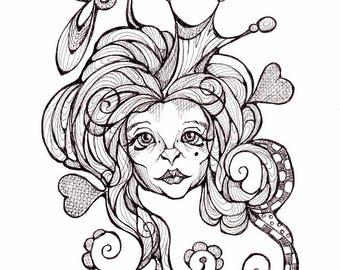 Art print from original black ink drawing by Renata Lombard