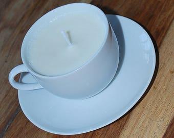 White Tea Cup and Saucer Candle (Lemon)