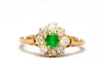 Emerald and Diamond cluster ring, Antique