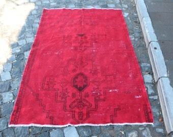 Red Overdyed Rug Free Shipping 3.8 x 5.8 ft. Small Size Anatolian Rug Decorative Rug Nomadic Rug Overdyed Wool Rug Good Condition Rug MB302