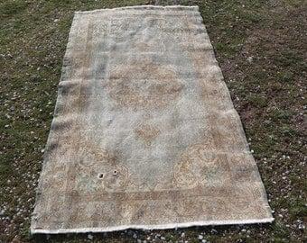 water blue rug, 3.7 x 6.7 ft. Free Shipping turkish rug, bohemian rug, oushak rug, anatolian rug, unique rug, nomadic rug, floor rug MB541