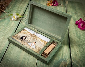 Big Personalised 10x15 Wooden box for photos and USB stick. Wedding gift Keepsake Box Wood Picture Box Anniversary Gift for Couple Photo Box