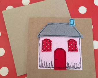 Felt embroidered Home card