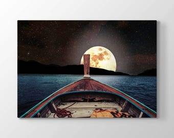 Moon View From The Boat Printing On Canvas, Wall Art, Canvas Prints, Room Deco, Beautiful View, Wonder, Nature