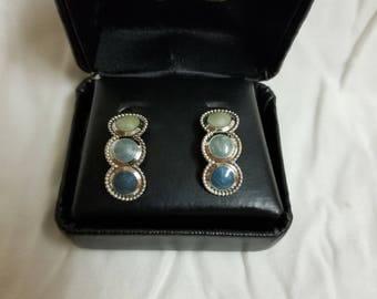 Turquoise stone hoop earrings
