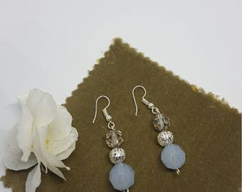 Blue and silver earrings