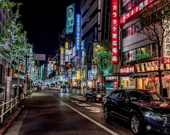 Streets of Shinjuku Print, fine art print, city streets, tokyo, japan photography, travel photography, wall art, decor, posters