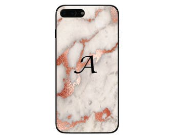 Personalised Rose Gold Marble Medium Initials Phone Case for Apple iPhone and Samsung Galaxy 5 6 6s 7 8 10