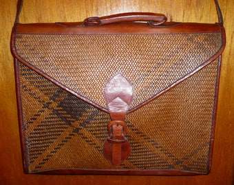 Vintage Woven Rotan with Brown Leather Trim, Handlees & Strap Briefcase Attache'