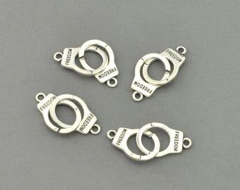 Antique Silver Tone Handcuffs Charm (AS00-0101)