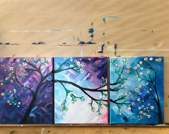 """Set of 3 8"""" x 12"""" Series Painting on Staple back Canvas"""