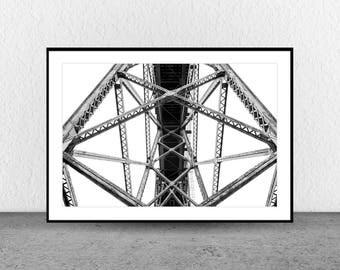 Beam Structure, Architecture Photography, Black and White Photography, Fine Art, Wall Art, Wall Art Photography, Geometric, Interior Decor