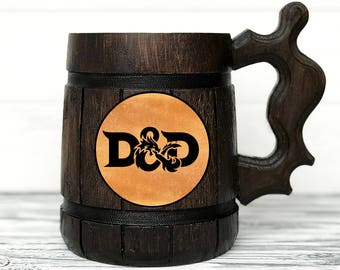 Dungeon and Dragons Mug. D&D Mug. Personalized Gamer Mug. Wood Stein Custom Beer Steins. Wooden Beer Tankard. Personalized Gifts for Men #90