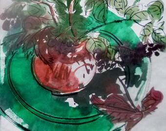 Still-life with green plate / Натюрморт с зелёной тарелкой