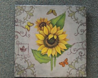 Sunflowers & Butterflies Painted Canvas