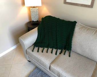 Hunter Green Popcorn Ripple Afghan