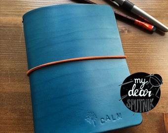 MydearSPUTNIK Traveller's Notebook Leda, Fauxdori, size A6 Petrol blue