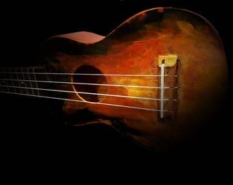 Up in Flames painted soprano ukulele