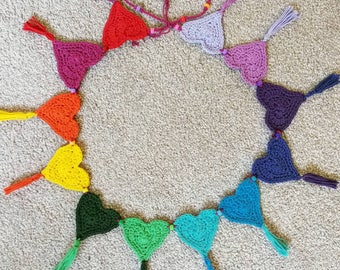 Rainbow heart bunting with tassels and beads