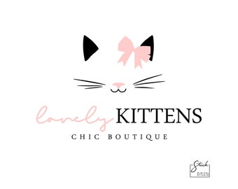 Cute Cat Logo - Pink Cat Logo - Cat Logo Design - Kitten Logo - Whiskers Logo - Pet Logo - Cat Logo