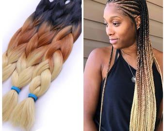 3 Tone ombré braiding hair